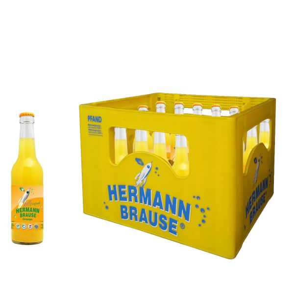Hermann Brause Limonade Orange 20 x 0,33l Glas Kiste MEHRWEG