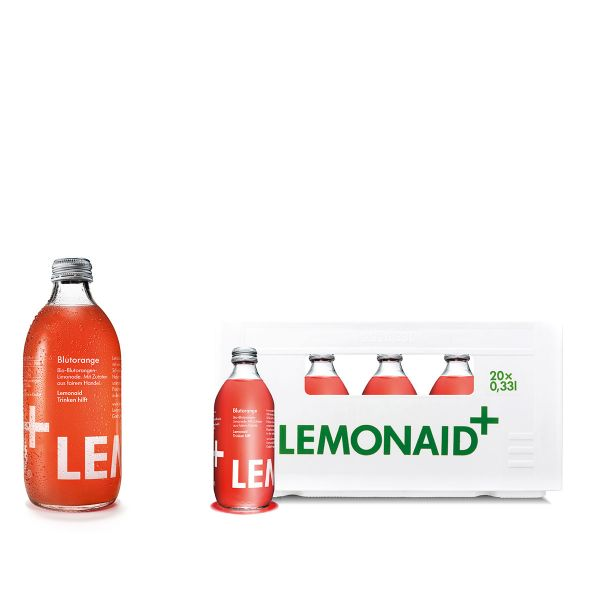 LemonAid Blutorange 20 x 0,33L Glas Kiste MEHRWEG