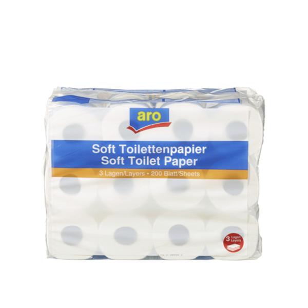Aro Soft Toilettenpapier 3 Lagig 24 Rollen 200 Blatt