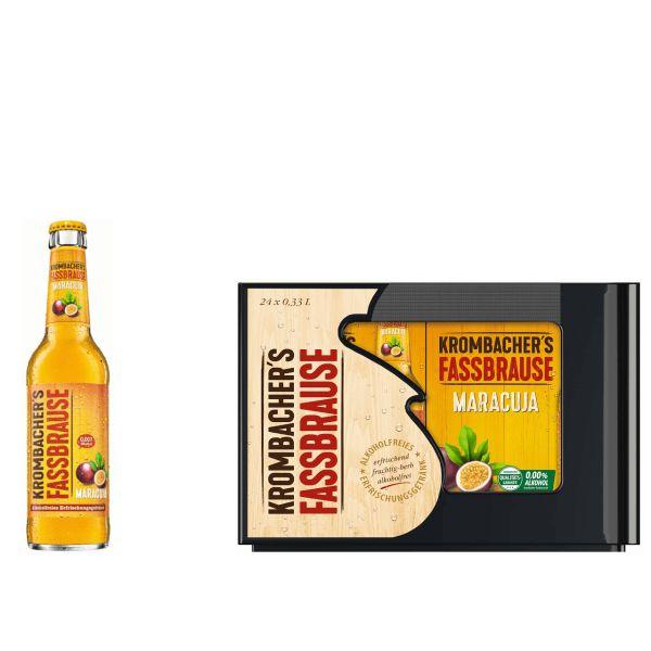 Krombacher Fassbrause Maracuja 24 x 0,33l Glas Kiste MEHRWEG