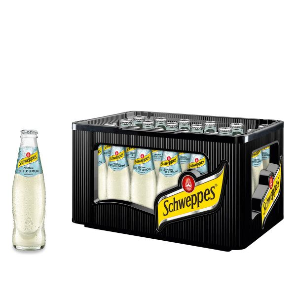 Schweppes Bitter Lemon 24 x 0,2l Glas Kiste MEHRWEG