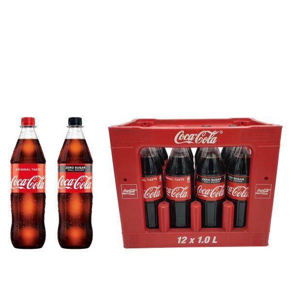 Coca Cola / Coca Cola Zero Sugar 12 x 1,0l PET Kiste MEHRWEG