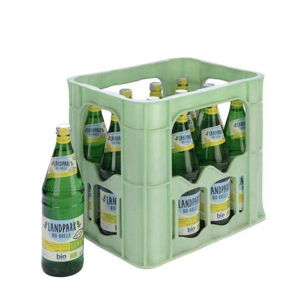 Landpark Bio-Quelle Lemon 12 x 0,75l Glas Kiste MEHRWEG