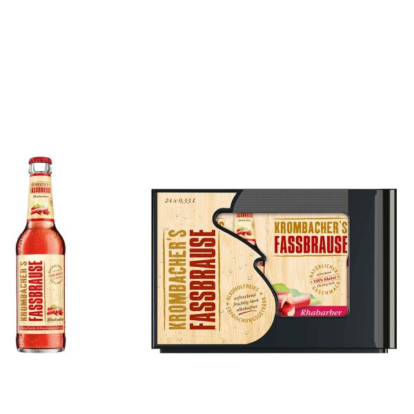 Krombacher Fassbrause Rhabarber 24 x 0,33l Glas Kiste MEHRWEG