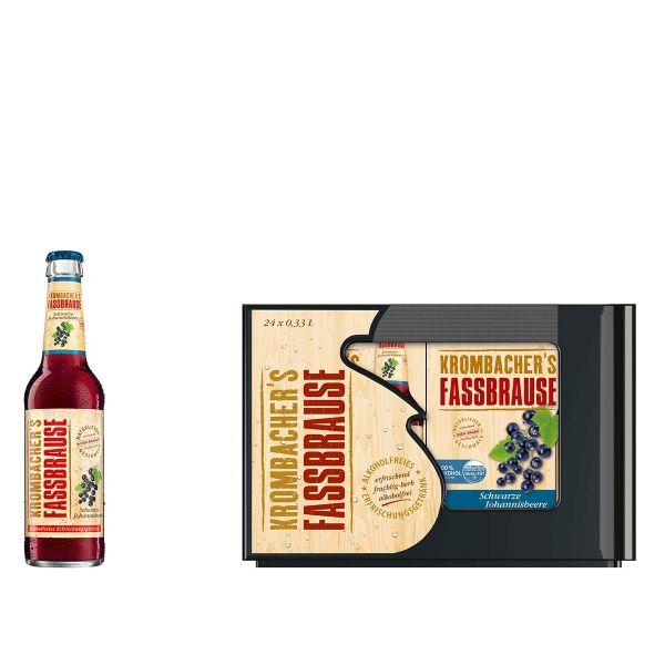 Krombacher Fassbrause Schwarze Johannisbeere 24 x 0,33l Glas Kiste MEHRWEG
