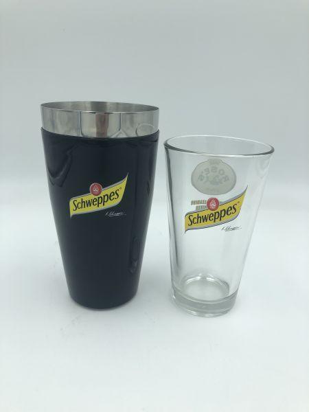 Schweppes Barshaker mit Trinkglas