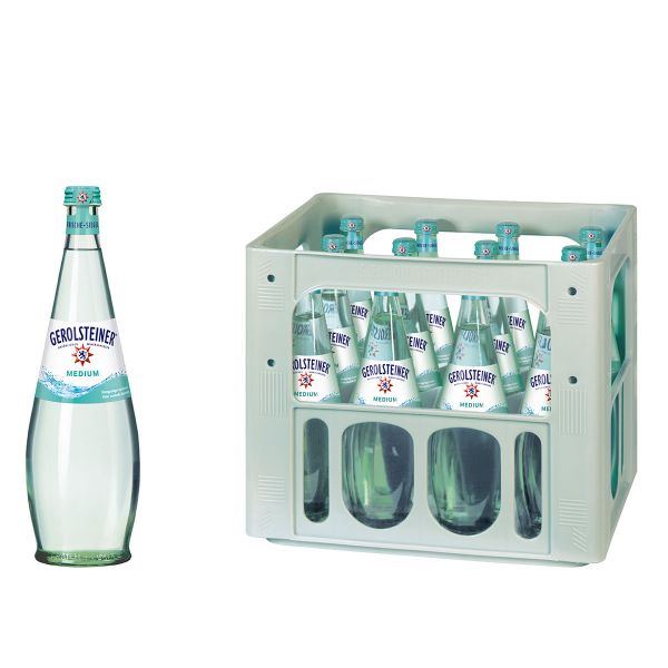 Gerolsteiner Medium Gourmet 12 x 0,7l Glas Kiste MEHRWEG
