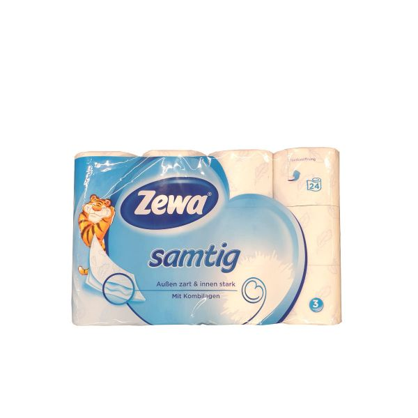 Zewa Samtig Toilettenpapier 3 lagig 24 Rollen á 140 Blatt