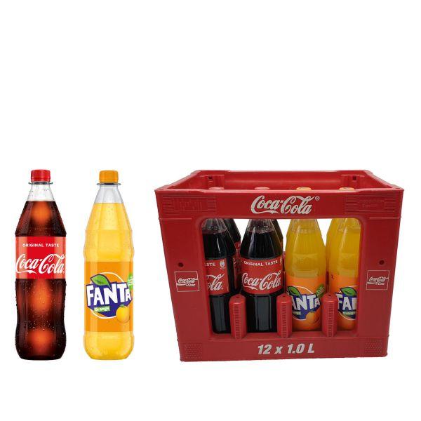 Coca Cola / Fanta 12 x 1,0l PET Kiste MEHRWEG