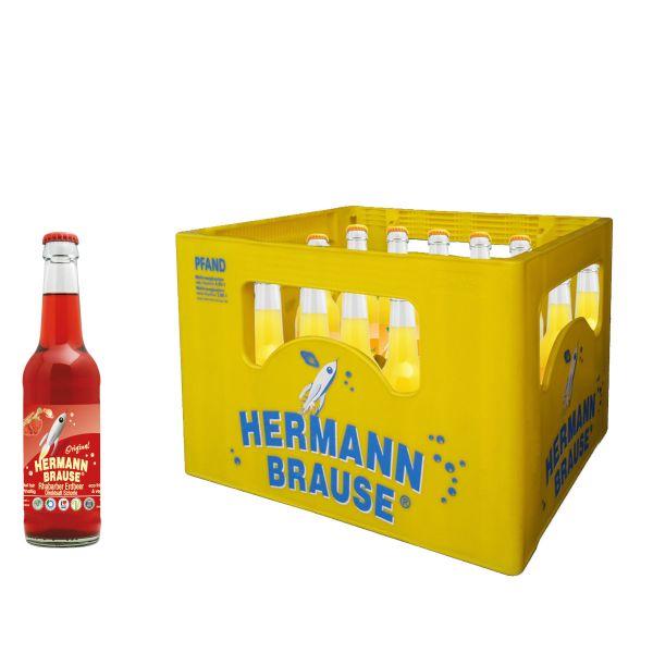 Hermann Brause Rhabarber-Erdbeer Schorle 20 x 0,33l Glas Kiste MEHRWEG