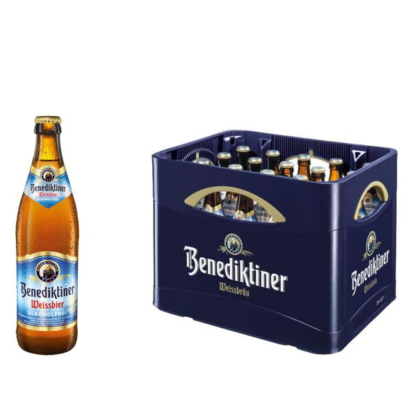 Benediktiner Weissbier Alkoholfrei 20 x 0,5l Glas Kiste MEHRWEG