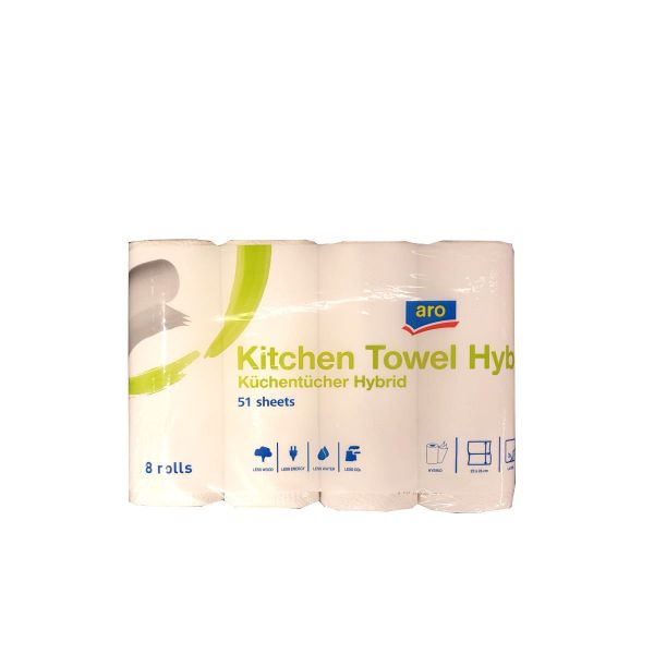 Aro Küchentücher Hybrid 8 Rollen á 51 Blatt