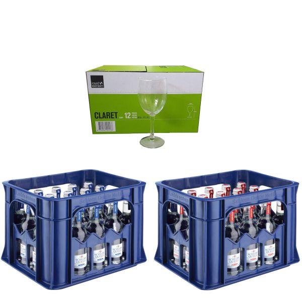 2 x Schloss Quelle Gourmet 20 x 0,25l Glas Kiste MEHRWEG + 1 Karton Gläser Gratis